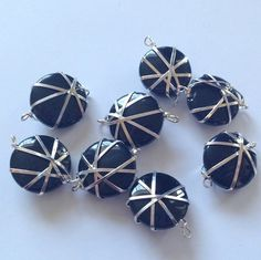 Black Wire Wrapped 18 mm Glass Circle Beads by CloudNineSupplyShop, $2.75