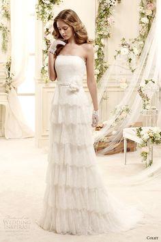 colet bridal 2015 style 66 coab15307iv straight across neckline tiered column wedding dress