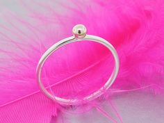 Stack ring, Gold bubble on a silver band, 14k solid gold and sterling silver ring - pinned by pin4etsy.com