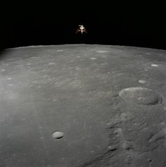 Nov. 19, 1969, Apollo 12 Lunar Module Intrepid - The Apollo 12 Lunar Module (LM), in a lunar landing configuration, is photographed in lunar orbit from the Command and Service Modules (CSM) on Nov. 19, 1969. Aboard the LM were astronauts Charles Conrad Jr., commander; and Alan L. Bean, lunar module pilot.