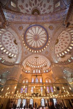 Vault of the Blue Mosque Istanbul Turkey Byzantine Architecture, Art And Architecture, Places Around The World, Oh The Places You'll Go, Pictures Of Turkeys, Blue Mosque Istanbul, Turkey Destinations, Santorini, Capadocia
