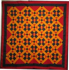 19th CENTURY QUILT red cheddar black combo
