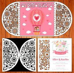 Invitación de la boda tarjeta plantilla, flores, figuras (studio V3, svg) lasercut descarga inmediata Silhouette Cameo de thehousedesigns en Etsy