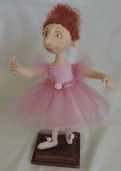 "11"" tall ballerina. Jill Maas ""Maggie"" pattern used to create her."