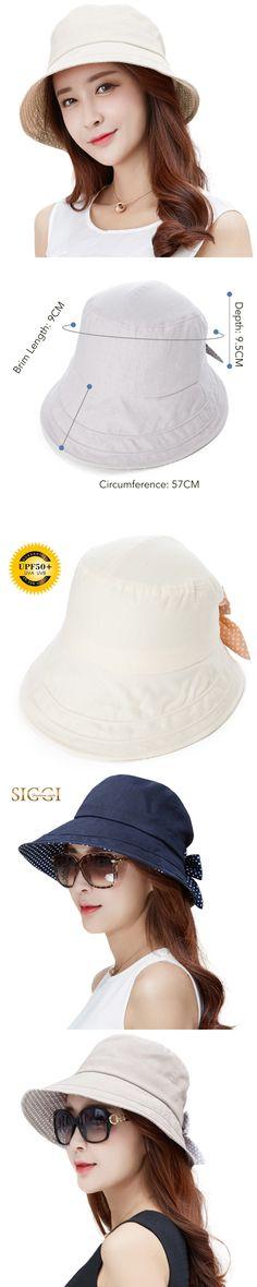 c042bb1dfe990 SIGGI Womens linen Summer Sun Hat bucket chapeu feminino praia chapeau  femme wide Brim UPF50+ UV