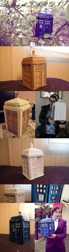 Building the TARDIS from cardboard and paper mache.