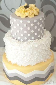 yellow/grey wedding cake - chevron and dots, oh my.