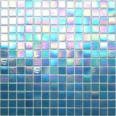Kaleidoscope ColorGlitz Iridescent Glass Mosaic Tile, sold by the 1.15 s.f. sheet - Academy Award Aqua