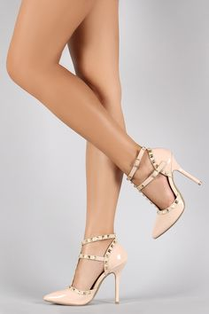Wild Diva Lounge Studded Straps Pointy Toe Pump