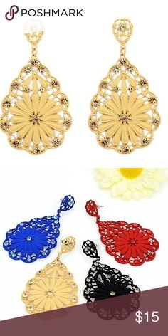 Rhinestone Hollow Out Dangle Earrings These are a beautiful pair of brand new Alloy and Rhinestone Hollow Out Dangle earrings. Available in four color choices: Blue, Black, Yellow, Red.  1) size:7.7cm *4.1cm  2) weight:20.2g  3) Lead and nickle free Jewelry Earrings