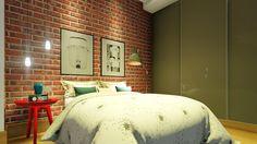 Projeto e maquete - Suzana Ganem Quarto moderno com parede de tijolo aparente.