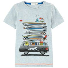 Slub cotton jersey Pleasant to the touch Crew neck Stretch ribbed knit trims Short sleeves Front print Contrast topstitching Brand label on the front Polo Shirt Outfits, Boy Outfits, Graphic Shirts, Printed Shirts, Shirt Print Design, Shirt Designs, Design Kaos, Summer Outfits Men, Kids Prints