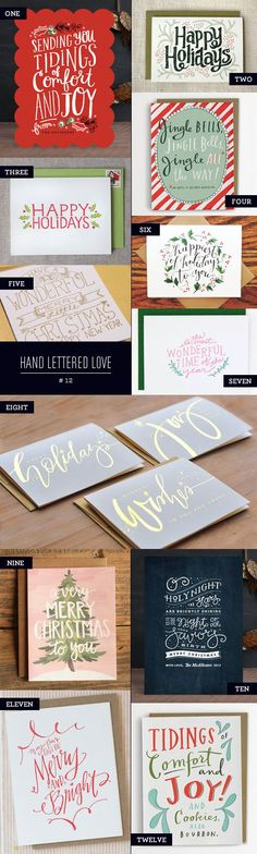 Hand lettered holiday cards and greetings by One Canoe Two, Emily McDowell, Julie Song, and more!