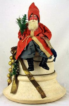 Large spun cotton bell candy container with German Santa mounted on Top.