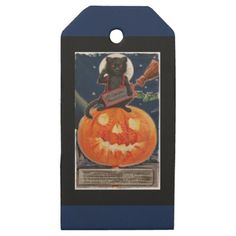#Kitty Takes Precautions or Black Cat Salutes Wooden Gift Tags - #Halloween happy halloween #festival #party #holiday