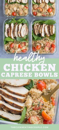 Healthy Chicken Caprese Bowls are a delicious clean eating meal for lunch or dinner. Naturally gluten free, hearty and easy to make, these are perfect to take to the office or for a quick meal on the go!