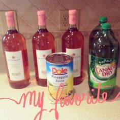 Ingredients A 40 oz package of frozen strawberries 2 Cans of frozen lemonade concentrate, thawed (12 fl oz cans each) 1 Bottle of chilled White Zinfandel (1.5 liter bottle) 4 Cups of pineapple juice 2 Liter ginger ale Directions Stir together strawberri