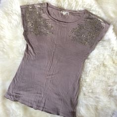 Asos Gray embellished shoulder tee size S Beautiful comfy embellished tee worn once size S purchased from asos Asos Tops Tees - Short Sleeve