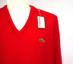 Vintage 80s Lacoste vneck red sweater never worn mens M