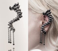 01 / Somnium auri elf - Gothic Punk Elf Inspired Ear Cuff/stud earrings, Clear Crystal Gothic punk Elf, Silver earrings