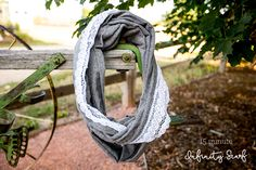 15 minuet infinity scarf with lace embellishment- love this!