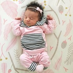 Sweet and Trendy Pink Newborn Take Home Outfit | Find Cute Terrycloth Jogger Outfits for Baby Girls at SugarBabies!!