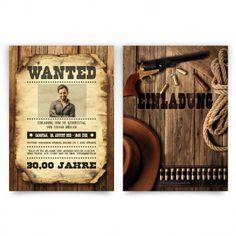 Coole #Einladungskarten Im #Western #Cowboy Design Mit Eigenem Foto Und  Text. Auf