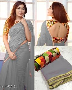 Attractive Georgette Solid Saree With Blouse Piece by Fashion Factory - Online shopping for Sarees on MyShopPrime - -FNSLGH Dhoti Saree, Chiffon Saree, Georgette Sarees, Lehriya Saree, Saree Blouse, Trendy Sarees, Fancy Sarees, Online Shopping Sarees, Sarees Online
