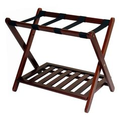 Welcome your guests with this hotel style luggage rack. Made of solid wood, this sturdy luggage rack will help your guests while packing and unpacking.