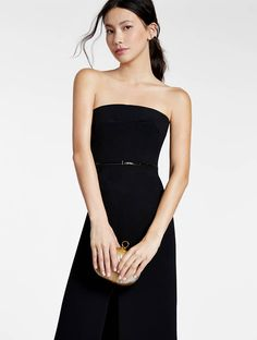 Halston - Strapless Crepe Column Gown