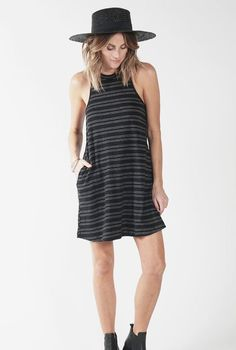 Knot Sisters - Mesa Dress - Black w/Cream Stripes