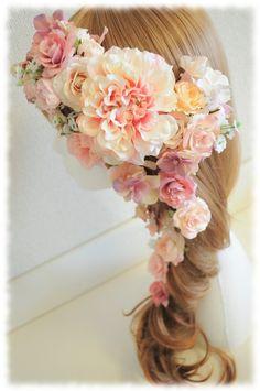 *オーダーメイド*♡ピンキッシュダリアとローズ、フラワーアレンジのヘアアクセサリー♡ |【Flower Accessories*M.MODE online shop】