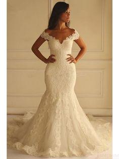 off shoulder wedding dresses, mermaid wedding dresses,lace wedding dresses,sweep train wedding dresses #weddingdresses #SIMIBridal