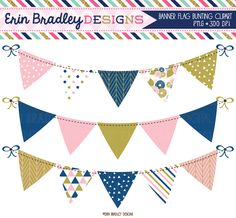 Pink Blue and Gold Banner Flag Bunting Clipart Set Personal & Commercial Use Graphics