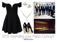 """""""BTS Attending your Piano Concert"""" by btsoutfits ❤ liked on Polyvore featuring Jimmy Choo, Marchesa and 1928"""
