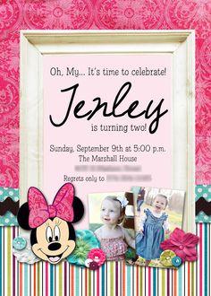 Slightly Askew Designs - Minnie Mouse Birthday Party Invitation