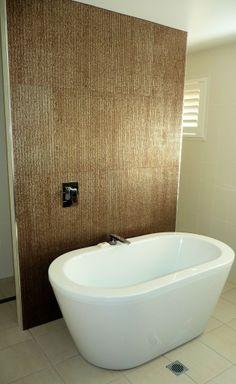 Minimalist Bathroom With Freestanding Soaking Bathtub And Stack Bond Tile Floor With White Wall / Toilets Bathroom Renova...