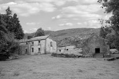 old abandoned farmhouse in the mountains of county Kerry Ireland in black and white