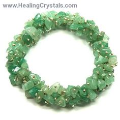 Bracelets - Green Aventurine Cluster Bracelet- Green Aventurine comforts, harmonizes, protects the heart, and can help attract love later in life. Green Aventurine is good for working with the Heart Chakra and with the Water Elements.  Code HCPIN10 = 10% off your order at www.healingcrystals.com
