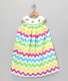 Take a look at this Rainbow Smocked Chevron Dress - Infant & Toddler by The Princess and the Pauper on #zulily today!
