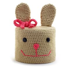 """""""Bunny Rabbit"""" Crocheted Toilet Paper Cover ♦ Pattern in """"Amigurumi Toilet Paper Covers: Cute Crocheted Animals, Flowers, Food, Holiday Decor and More"""" by Linda Wright. http://amazon.com/dp/0980092361/"""