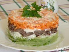Салат с зеленой редькой и куриными сердцами Простой, быстрый в приготовлении и…