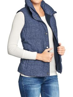 Women's Quilted Tweed Puffa Vests Product Image