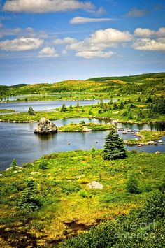 Newfoundland Landscape, Scenic lake shore and hillside in Newfoundland, Canada. Places Around The World, Oh The Places You'll Go, Places To Visit, Around The Worlds, Newfoundland Canada, Newfoundland And Labrador, Nova Scotia, Wonderful Places, Beautiful Places
