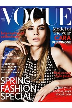 British model Cara Delevingne fronts the cover of Vogue UK magazine March 2013 issue. Photographed by by Mario Testino and styled by Lucinda Chambers. Vogue Covers, Vogue Magazine Covers, Fashion Magazine Cover, Fashion Cover, Fashion Tag, Man Fashion, Vogue Fashion, Fashion News, Style Fashion