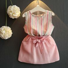 Cheap children set, Buy Quality girls clothing sets directly from China clothing sets Suppliers: Belbello Girls Clothing Sets Summer Short Sleeve T-Shirt Girl Skirt Kid Clothes Girl Striped Skirt Fashion Casual Children Sets Baby Girl Fashion, Toddler Fashion, Kids Fashion, Fashion Hats, Fashion Wear, Fall Fashion, Fashion Trends, Baby Outfits, Kids Outfits