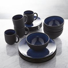 Jars Tourron Blue 16-Piece Dinnerware Set | Crate and Barrel