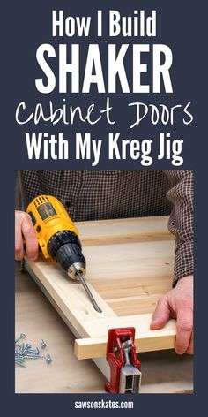 I just ed this How to Make Shaker Cabinet Doors with my Kreg Jig tutorial and I built my own cabinet doors! It was so easy! I was going to have my kitchen and bathroom doors replaced but it was so expensive. Now I can DIY them on the cheap! Easy Woodworking Projects, Woodworking Techniques, Popular Woodworking, Diy Wood Projects, Fine Woodworking, Woodworking Articles, Woodworking Quotes, Woodworking Magazine, Kreg Jig Projects