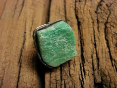 Druzy Raw Amazonite Madagascar silicate mineral adjustable ring stained glass retro charms oxidized old silver by GepArtJewellery. by GepArtJewellery on Etsy