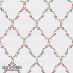 Rasch Textil Petite Fleur 3 23-285344 Blumen-Rauten creme-weiß